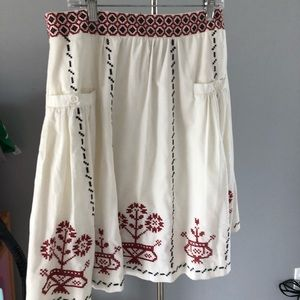 Anthropologie Folk Cross Stitched Lithe Skirt